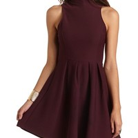 TEXTURED MOCK NECK SKATER DRESS