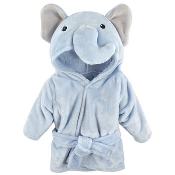 Hudson Baby Unisex Baby Plush Animal Face Robe, Blue Elephant, One Size, 0-9 Months 0-9 Month