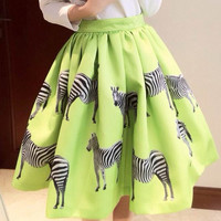 Green Zebra Print Mini Skirt