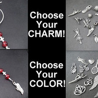 Beaded Icicle Choose Your CHARM Ornament / Rear View Mirror Charm / Gift Tag / Beaded Bag Tag - Choose Color and Charm - Sports Ornament