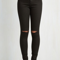 90s Long Skinny Sojourn to Soho Pants in Black by ModCloth