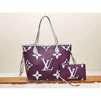Hipgirls LV fashion hot selling women's casual printed color matching two-piece single-shoulder bag Purple