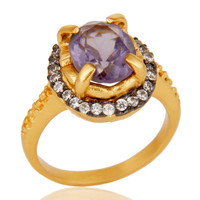 Natural Amethyst Prong Setting Gemstone White Zircon 18K Gold Plated Brass Ring