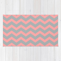 Chevron Gray Coral Pink Area & Throw Rug by BeautifulHomes   Society6