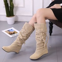Women Boots 2018 Mid Calf Boots Fashion Women Shoes Plus Size Winter Boots Fringe Fenty Beauty Female Boots Suede Ladies Shoes