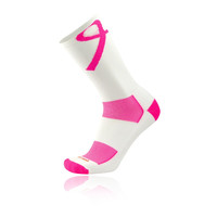Twin City Aware Breast Cancer Ribbon Crew Socks - White Pink