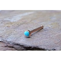 2mm Turquoise Rose Gold Nose Bone Rose Gold Nose Stud Nose Ring