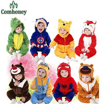 Baby Rompers Spiderman Minions Hooded Fleece Baby Boys Clothes Captain America Infant Baby Costumes Winter Ropa Bebe Jumpsuit