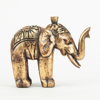 Wooden Elephant Figurine Gold One Size For Women 27551562101