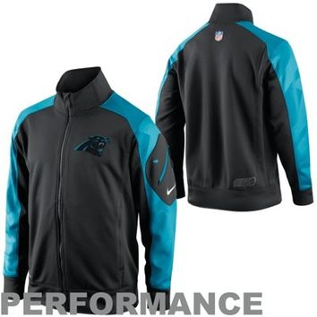 Nike Carolina Panthers Fly Speed Full Zip Performance Jacket - Black/Panther Blue