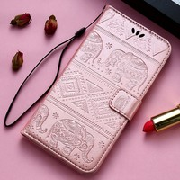 KISSCASE 3D Elephant Patterned Flip Leather Case for iPhone 7 7 Plus 6 6S Plus 5 5S SE Cases Cover Wallet Leather Bag Cover Capa