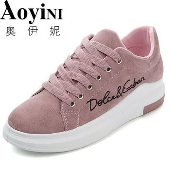 Genuine Leather Women Sneakers Fashion Pink Shoes for Women Lace up White Shoes Creepers Platform Shoes