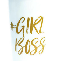 Girl Boss Travel Mug in White and Hot Pink