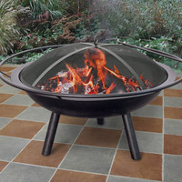 """28"""" Black Portable Fire Pit With Ring And Spark Screen"""