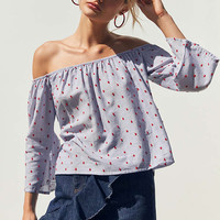 Kimchi Blue Embroidered Polka Dot Off-The-Shoulder Blouse | Urban Outfitters