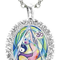 Aum Peace Healing Yoga Cz Crystal Silver Necklace Pendant