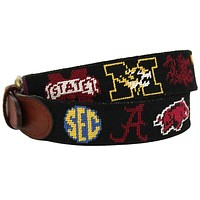 SEC Needlepoint Belt in Black by Smathers & Branson