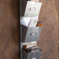 Three Pocket Vertical Galvanized Organizer