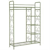 Brylanehome 5-Tier Metal Closet With Hanging Rod (Green,0)