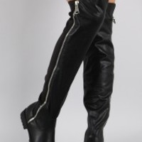 Bamboo Zipper Stretchy Over-The-Knee Riding Boots