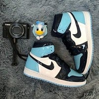 Nike AJ Street Style Patent Leather Lard Buckle High-Top Sports Basketball Shoes Couples Leisure Sports Men and Women's Basketball Shoes