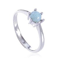 925 Sterling Silver Simple Ring with a Created Larimar Centered Stone