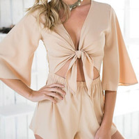 Beige Tie Front Romper With Lace Back