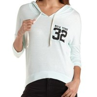 Mint High-Low New York Pocket Hoodie by Charlotte Russe