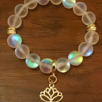 14kt Gold Lotus Flower Bracelet || Opalite Beaded Bracelet, Gold Accents, Lotus Flower Charm, Yogi