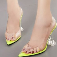 Hot style sheer pumps with pointed toes and shallow stilettos shoes