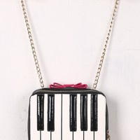 Contrast Bow Accent Piano Keyboard Crossbody Bag