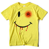 Yellow Funny Smiling Face  Printed T-shirt