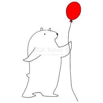 Polar Bear with Red Balloon Waterproof Temporary Tattoos Lasts 3 to 4 days Choose Small, Medium or Large Sizes
