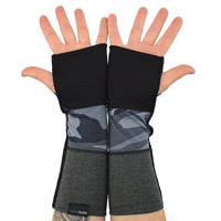 Arm Warmers in Black Charcoal and Grey Camo - Camouflage - Segmented Sleeves - Fingerless Gloves