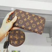 LV Louis Vuitton Fashion Women Leather Key Pouch Clutch Bag Wallet Purse Two Piece
