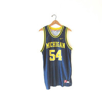 Vintage 90s MICHIGAN WOLVERINES University of Michigan NIKE #54 Blank College Basketball Jersey Sz L