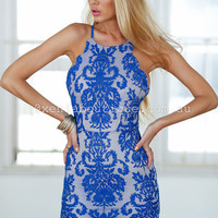 Inka Lace Dress (Blue) | Xenia Boutique | Women's fashion for Less - Fast Shipping