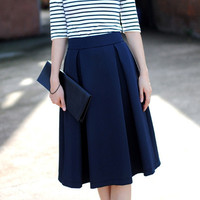 Retro Ruffled Midi Skirt