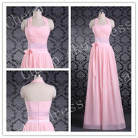First-class New Style A-line Halter Ruffle Chiffon Long Bridesmaid Dress Party Dress Evening Dress Prom Dress Formal Dress 2014
