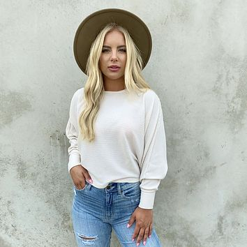 Shine Together Cream Ribbed Long Sleeve Top