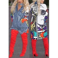 "GGotta's Brandy""Trendy Turndown Collar Long Sleeves Printed Patchwork Blue Denim Long Coat"