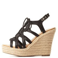Black Strappy Lace-Up Wedge Sandals by Charlotte Russe