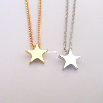 Tiny Star Necklace - 2 colors available (gold and silver) - dainty, cute and lovely pendant jewelry, twinkle star, gold star, silver star