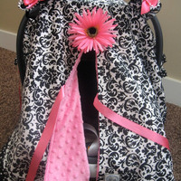 JULY SALE Infant Car Seat canopy cover Cuddler -- Black White Damask with Pink minky and polka dot trim - MADE To Order