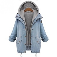 High quality fashion casual Jacket suits Broadcloth Sweatshirt coat for women Two Piece Hooded Jeans