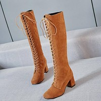 Women Stretch Slim Thigh Coarse High Boots Sexy Fashion Boots Lace Up High Heels Woman Shoes Coarse Heels Brown