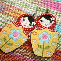 Dangle Earrings - Matryoshka Fabric Jewelry - Russian Doll - Yellow Floral Body, Red Polka Dot Shawl, Black Hair - Boho Style - Gift For Her