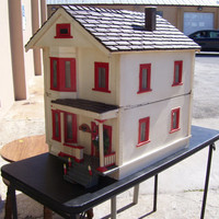 Antique Doll House Collector's Dream circa 1916  Wooden Two Story Wired and Full of Antique Renwal  Doll Furniture And Family Dolls