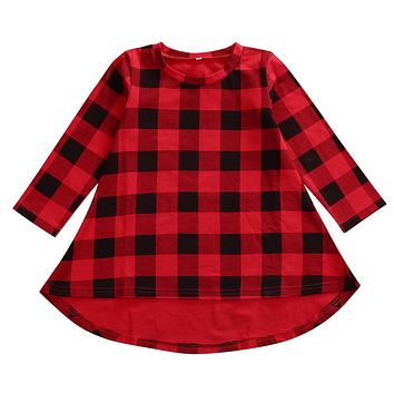 Baby Girls Xmas Red Plaid Dress For Girls Winter Autumn Casual dress 2-6Yrs