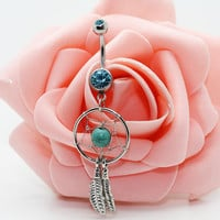 Dream catcher belly button rings,Feather belly ring,Turquoise belly ring,Friendship belly ring
